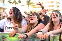 Girls from the audience at the Primavera Pop Festival of Badalona Royalty Free Stock Photography