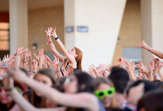Girls from the audience at the Primavera Pop Festival of Badalona Royalty Free Stock Photo