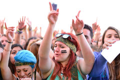 Girls from the audience at the Primavera Pop Festival of Badalona Stock Photo