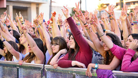 Girls from the audience at the Primavera Pop Festival Stock Photos
