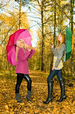 Girls in autumn park Royalty Free Stock Photos