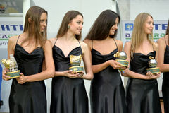 Girls with awards Stock Photo