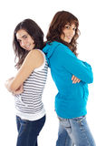 Girls back to back Stock Photo