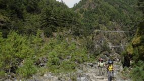 Tourists with backpacks in the mountains of Nepal. Girls with backpacks are walking along the beautiful mountain valley in the Himalayas. Tourists on the track stock footage