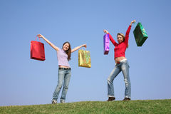 Girls with bags Stock Image