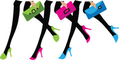 Girls with bags Royalty Free Stock Photos