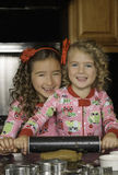 Girls Baking Christmas Holiday Cookies Royalty Free Stock Image