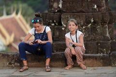 Girls at Bakong Temple, Angor Wat, Cambodia Royalty Free Stock Photo
