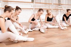 Ballerinas correct pointe shoes. stock images