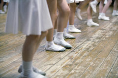 Girls in ballet school. Image of legs, close-up Stock Photo
