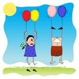Girls&balloon Stock Photo