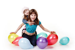 Girls with balloons. Royalty Free Stock Photos