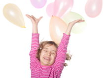 Girls and balloons Stock Image