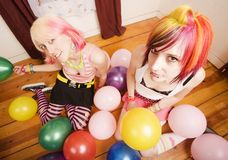 Girls With Balloons stock images