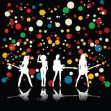 Girls band. In concert, vector art Royalty Free Stock Photography