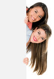 Girls with a banner Royalty Free Stock Photography