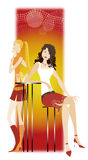 Girls in the bar. Two girls in the bar royalty free illustration