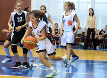 Girls basketball action Stock Photography
