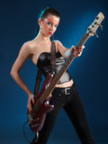 Girls with bass guitar Royalty Free Stock Photos