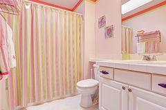Girls bathroom interior in pink tones Royalty Free Stock Image