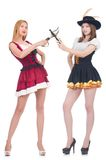 Girls in bavarian costumes isolated on the white Stock Images