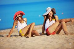 Girls at beach Royalty Free Stock Image
