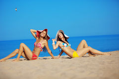 Girls at beach Royalty Free Stock Photo