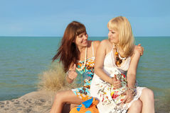 Girls at the beach Royalty Free Stock Photo