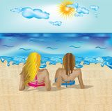 Girls on beach Stock Photography