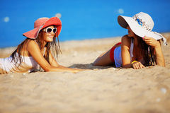 Girls at beach Stock Image