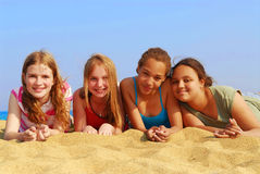 Girls on beach Royalty Free Stock Photography