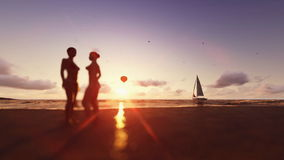 Girls on the beach, air balloon and yacht sailing stock video