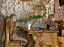 Girls in beach cafe Stock Image