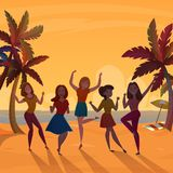 Girls Beach Dance Retro Poster Royalty Free Stock Photography
