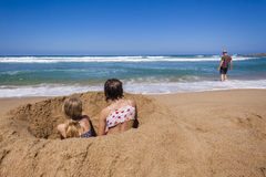 Girls Beach Father Holidays royalty free stock photography