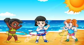 Girls at the beach. Illustration of the girls at the beach Stock Photos