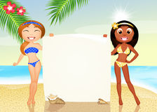 Girls on the beach Royalty Free Stock Photography