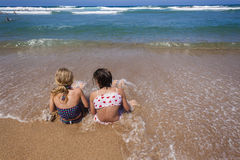Girls Beach Ocean Shore Break royalty free stock image