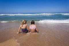 Girls Beach Ocean Shore Break royalty free stock photos
