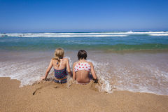 Girls Beach Ocean Shore Break royalty free stock photo