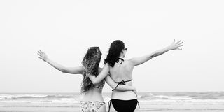 Girls Beach Summer Holiday Vacation Togetherness Concept Stock Images