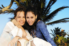 Girls on beach vacation Royalty Free Stock Image
