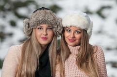 Girls with beautiful make up, and snow flake, forest background Stock Images