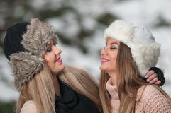 Girls with beautiful make up, and snow flake, forest background Stock Photography