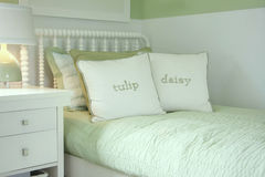 Girls bedroom. In white and green Royalty Free Stock Photography