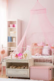 Girls bedroom with canopy bed Stock Photos