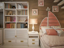 Girls bedroom in classic style. 3d visualization