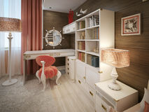 Girls bedroom in classic style Royalty Free Stock Photo