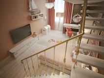 Girls bedroom marine style Stock Image