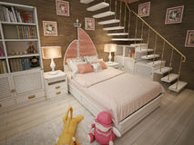 Girls bedroom marine style Royalty Free Stock Images